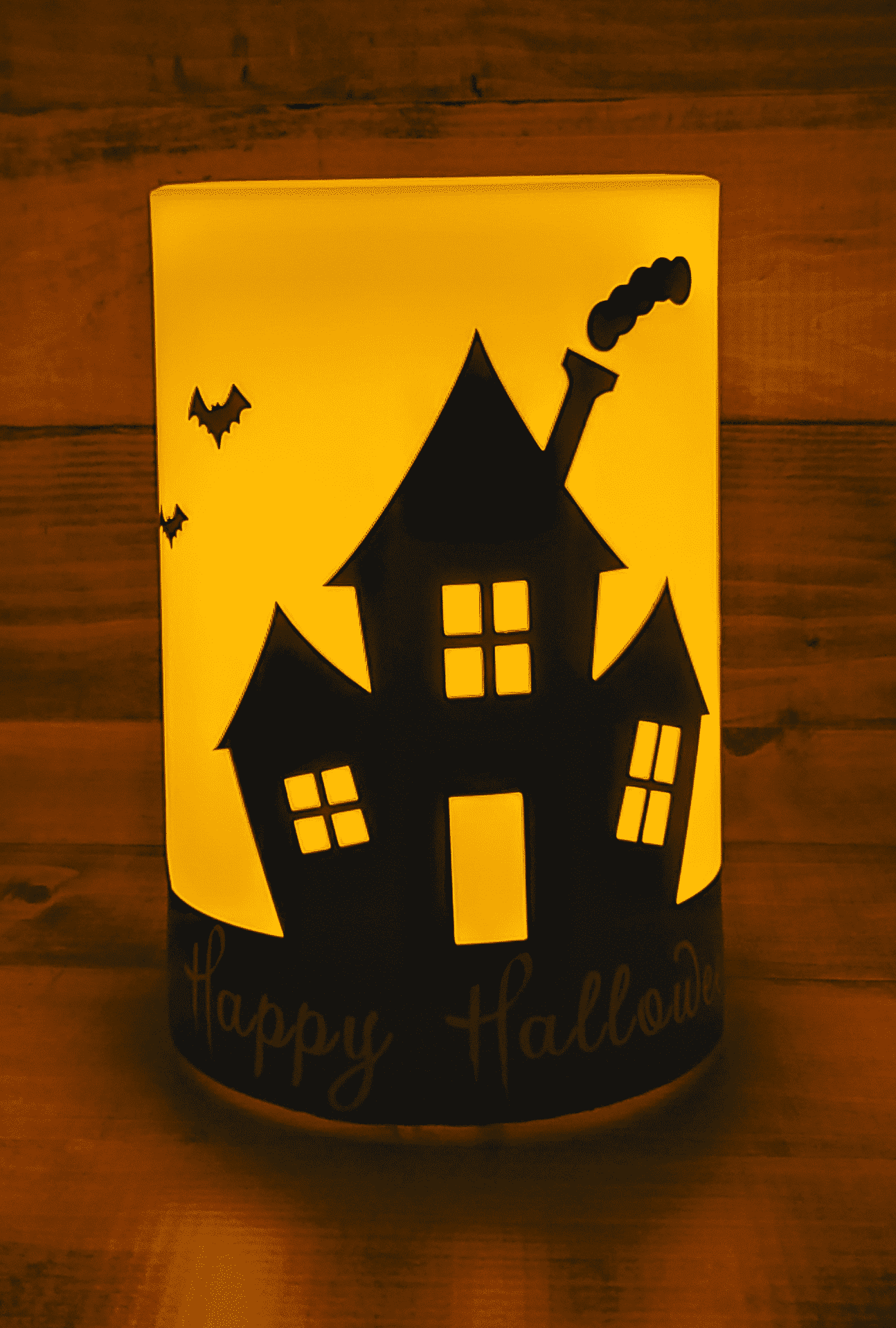 Lit up Happy Halloween Candle - Front