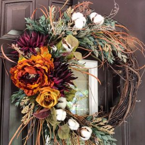 Rustic Burgundy & Rust Wreath