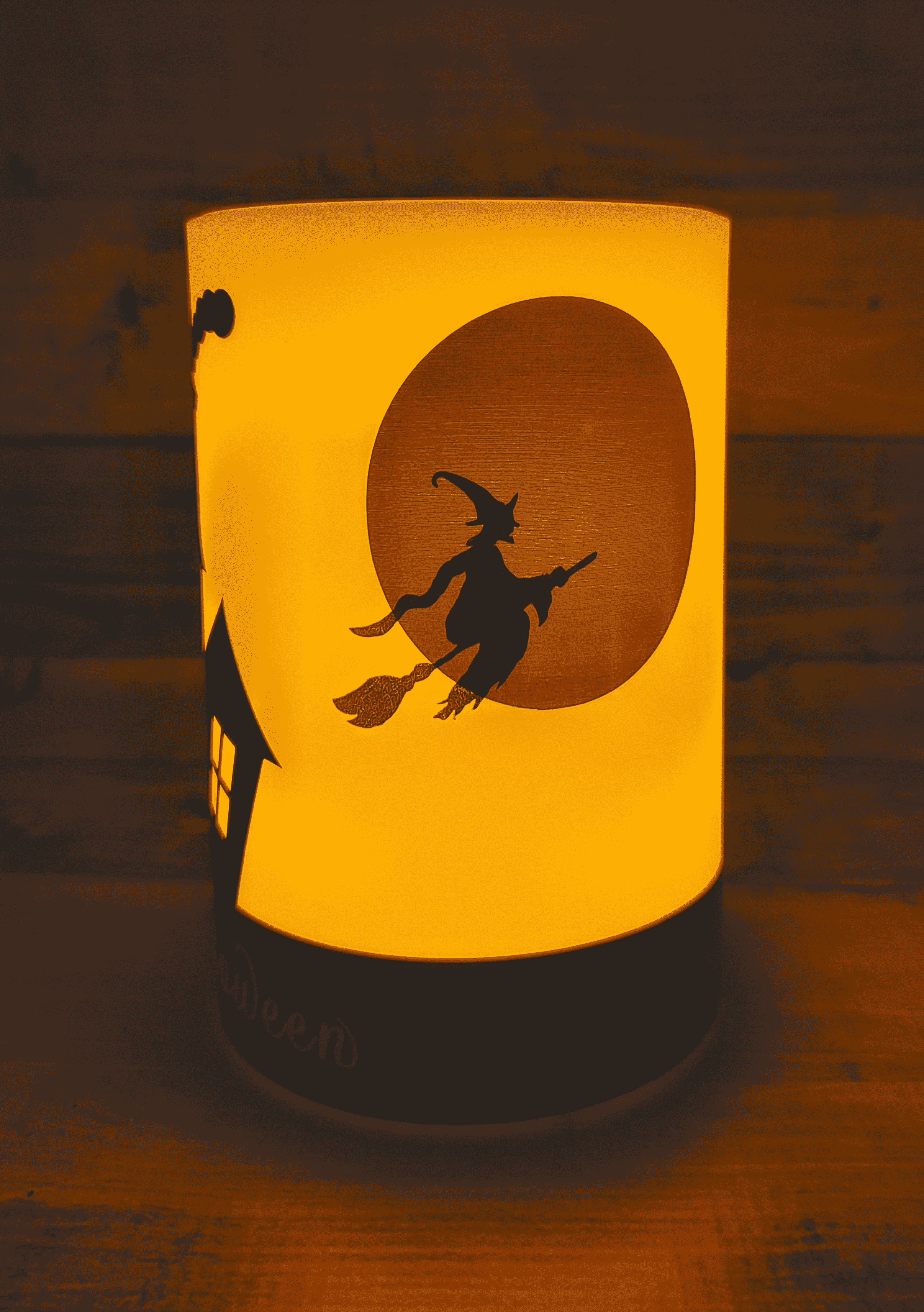 Lit up Happy Halloween Candle - Witch