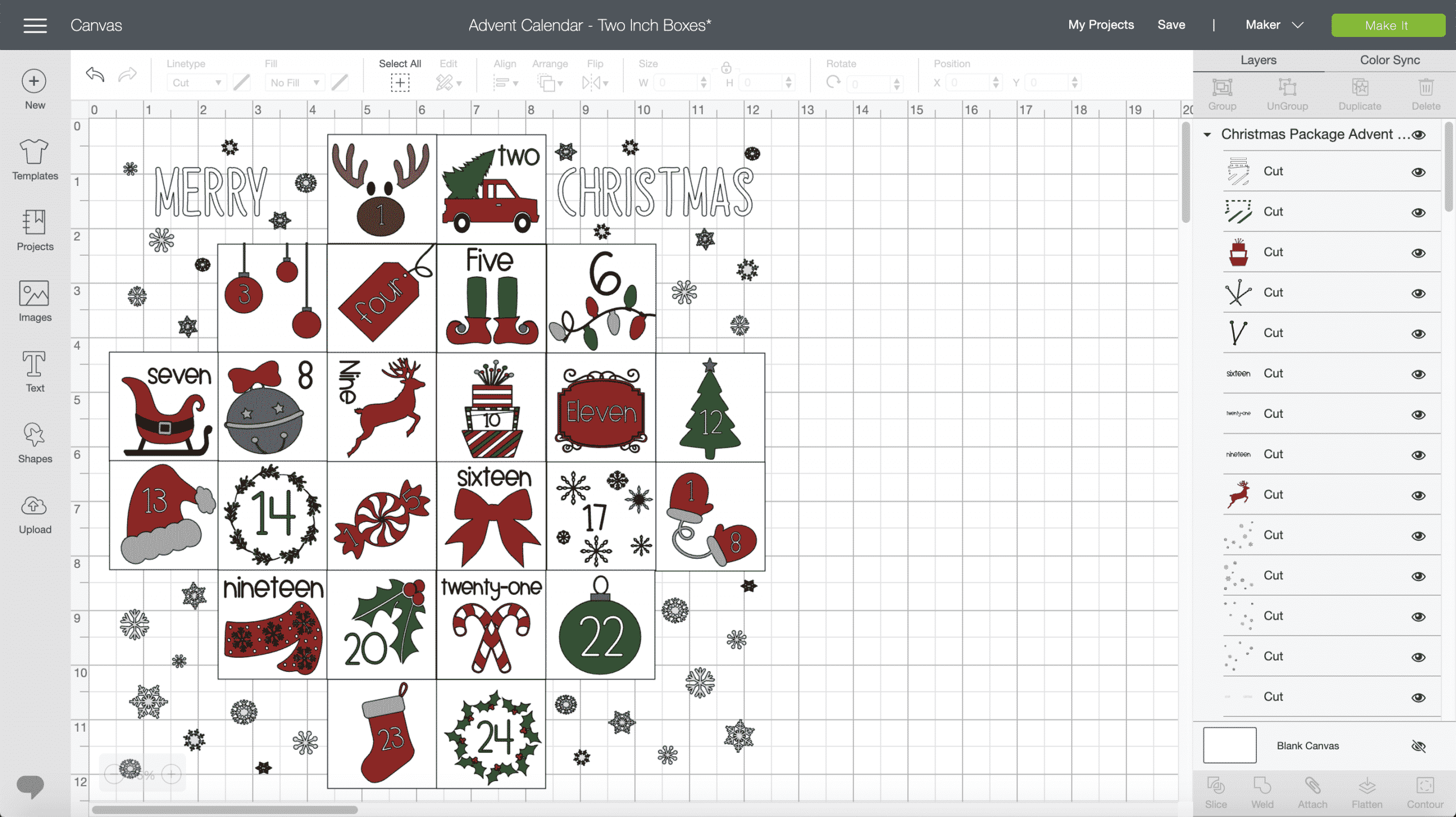 Boxed Christmas Gift Advent Calendar_Cricut Design Space