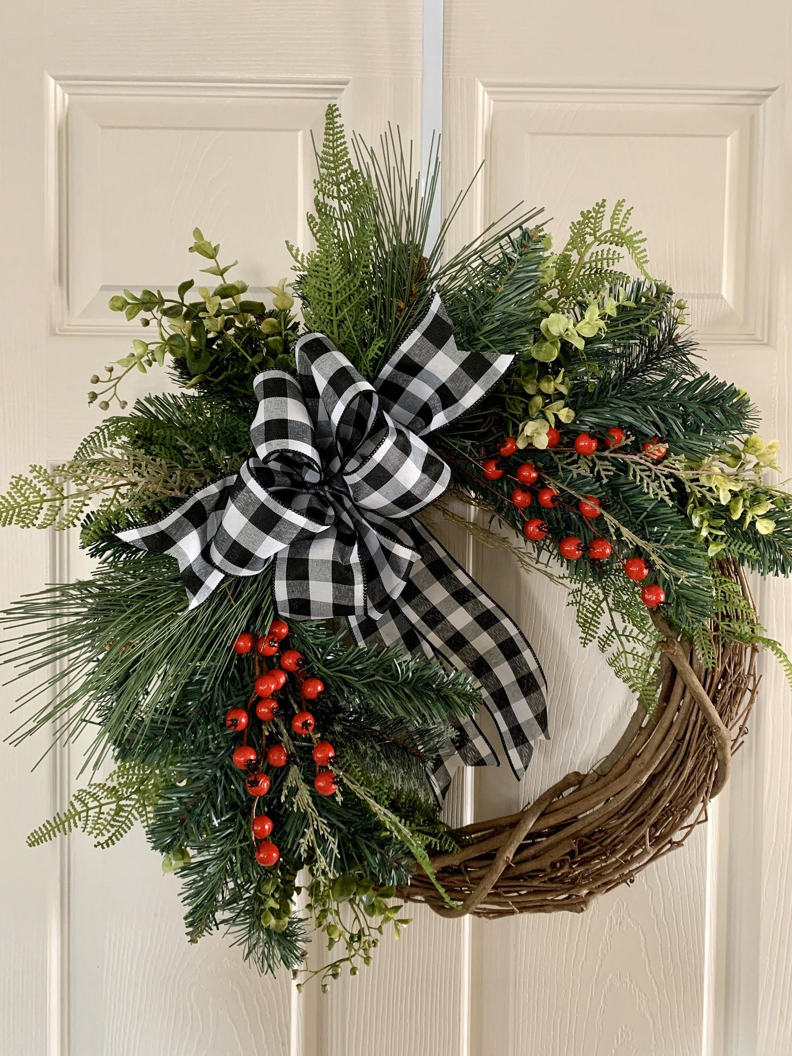 Buffalo Check Bow and Berry Etsy Christmas Wreaths