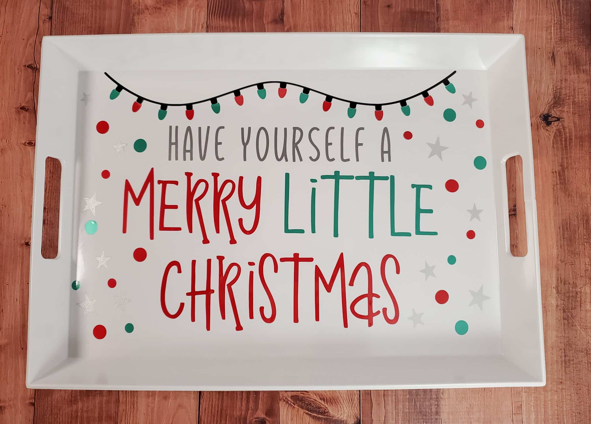 Finished Merry Little Christmas Tray