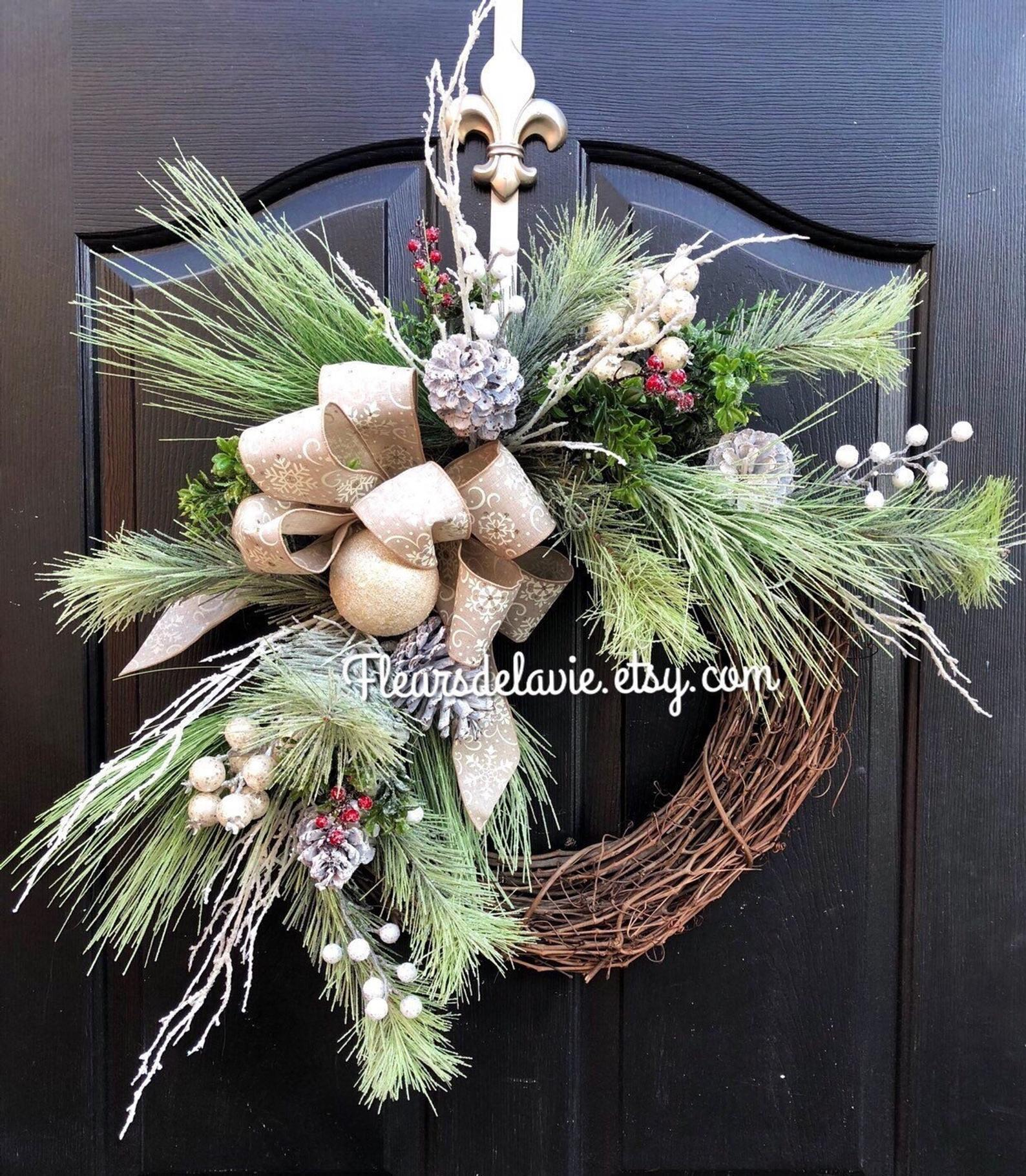 Grapevine Frosted Etsy Christmas Wreaths