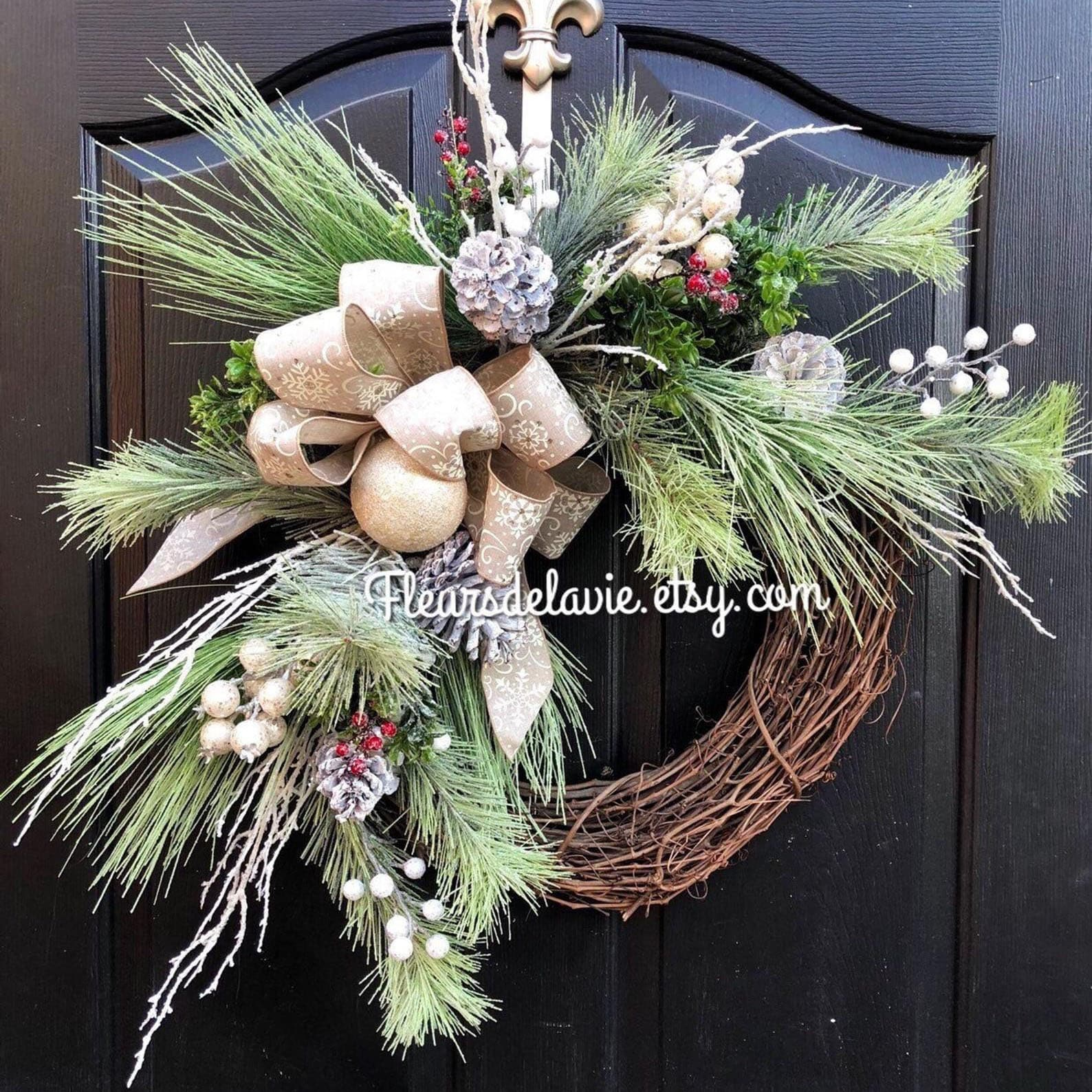 Grapevine Frosted Christmas Wreath