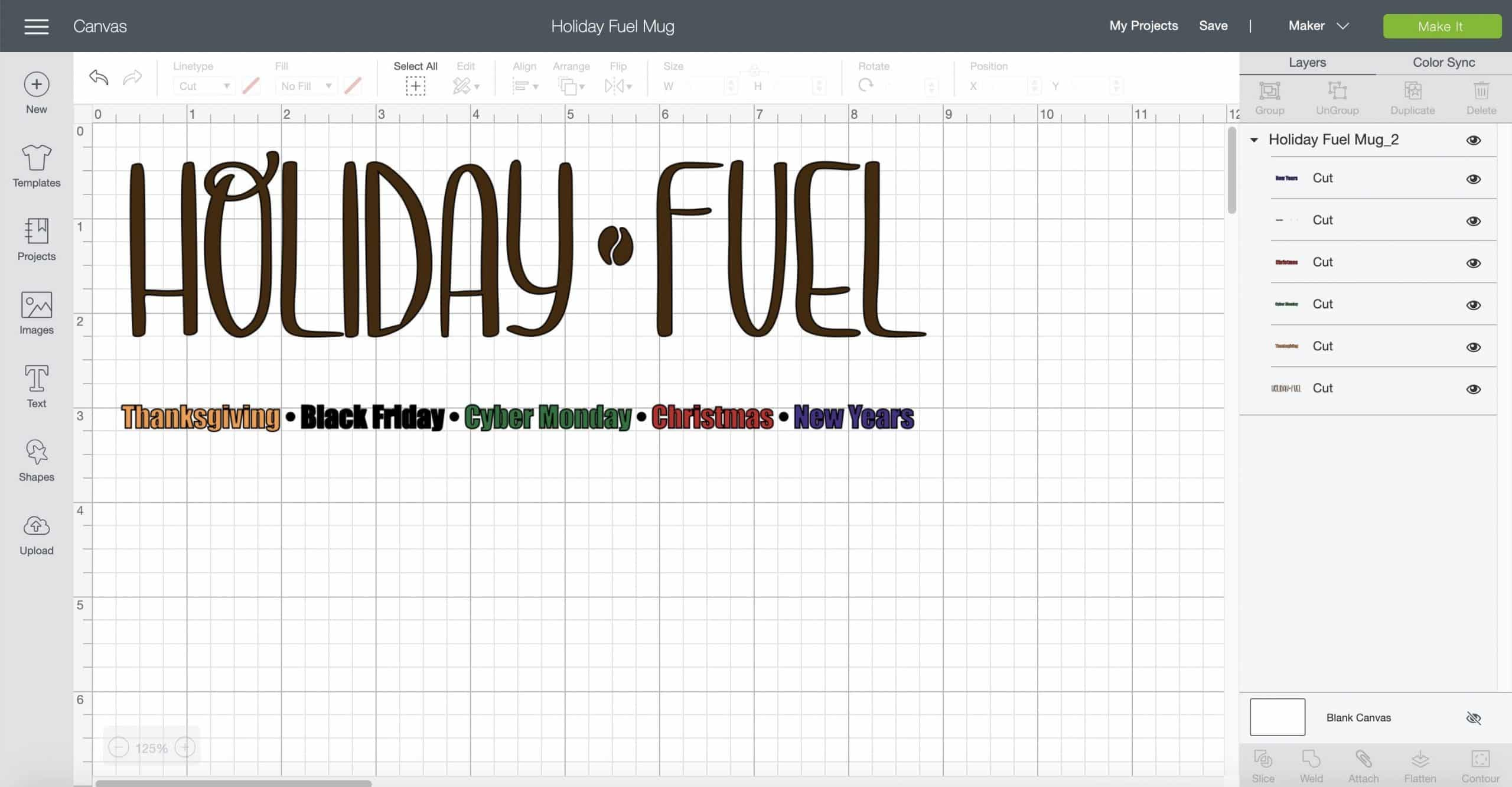 Cricut Design Space Holiday Fuel Mug