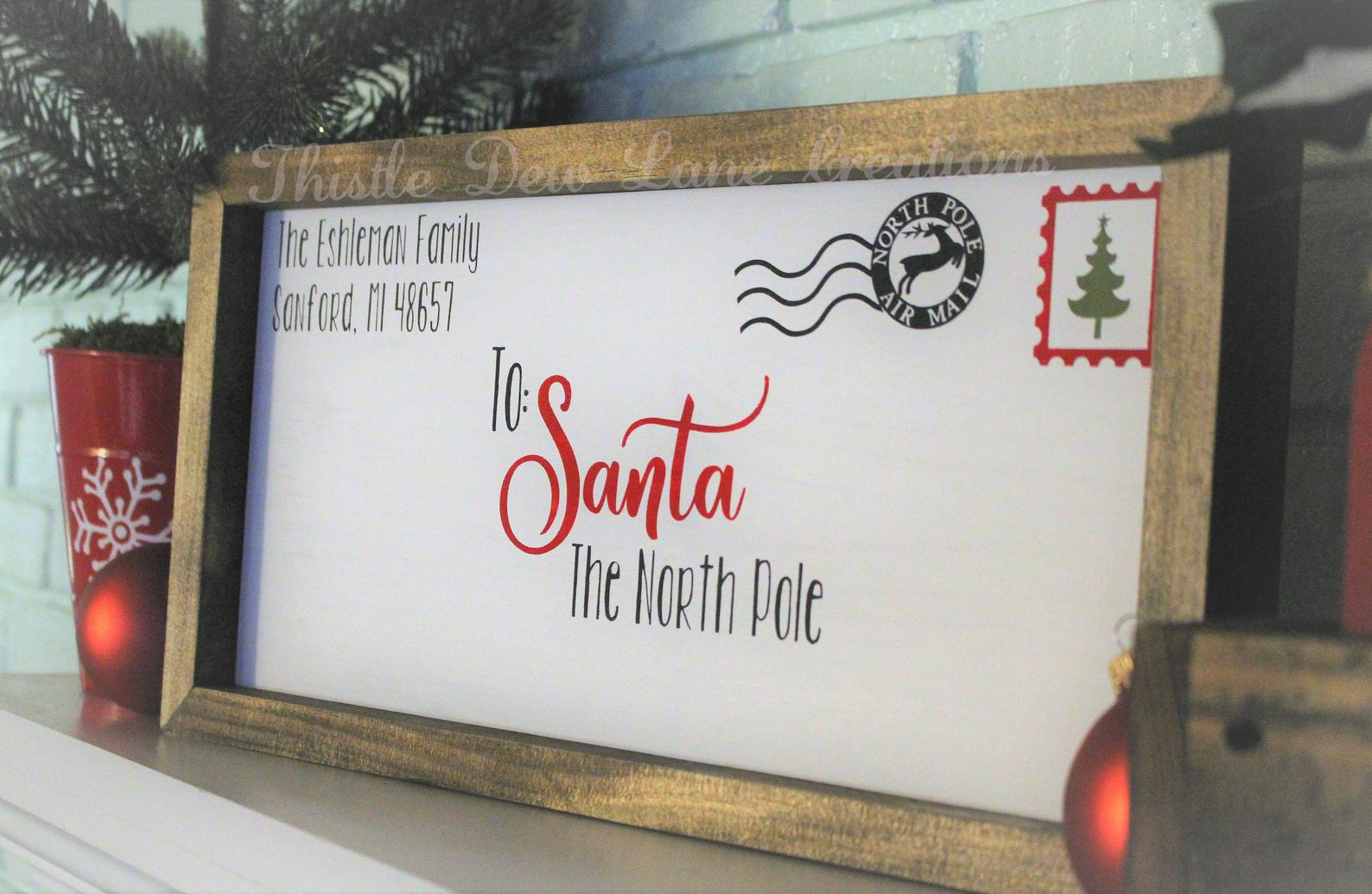 Letter to Santa Wooden Sign