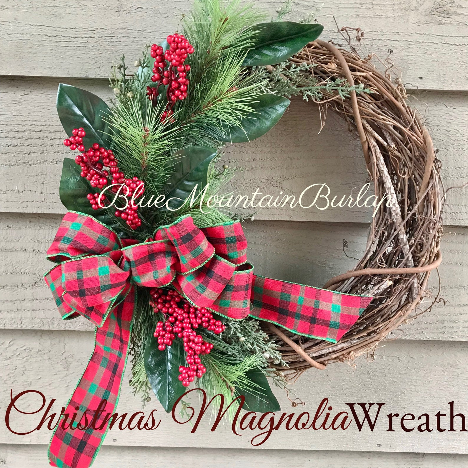 Magnolia and Berry Christmas Grapevine Wreath