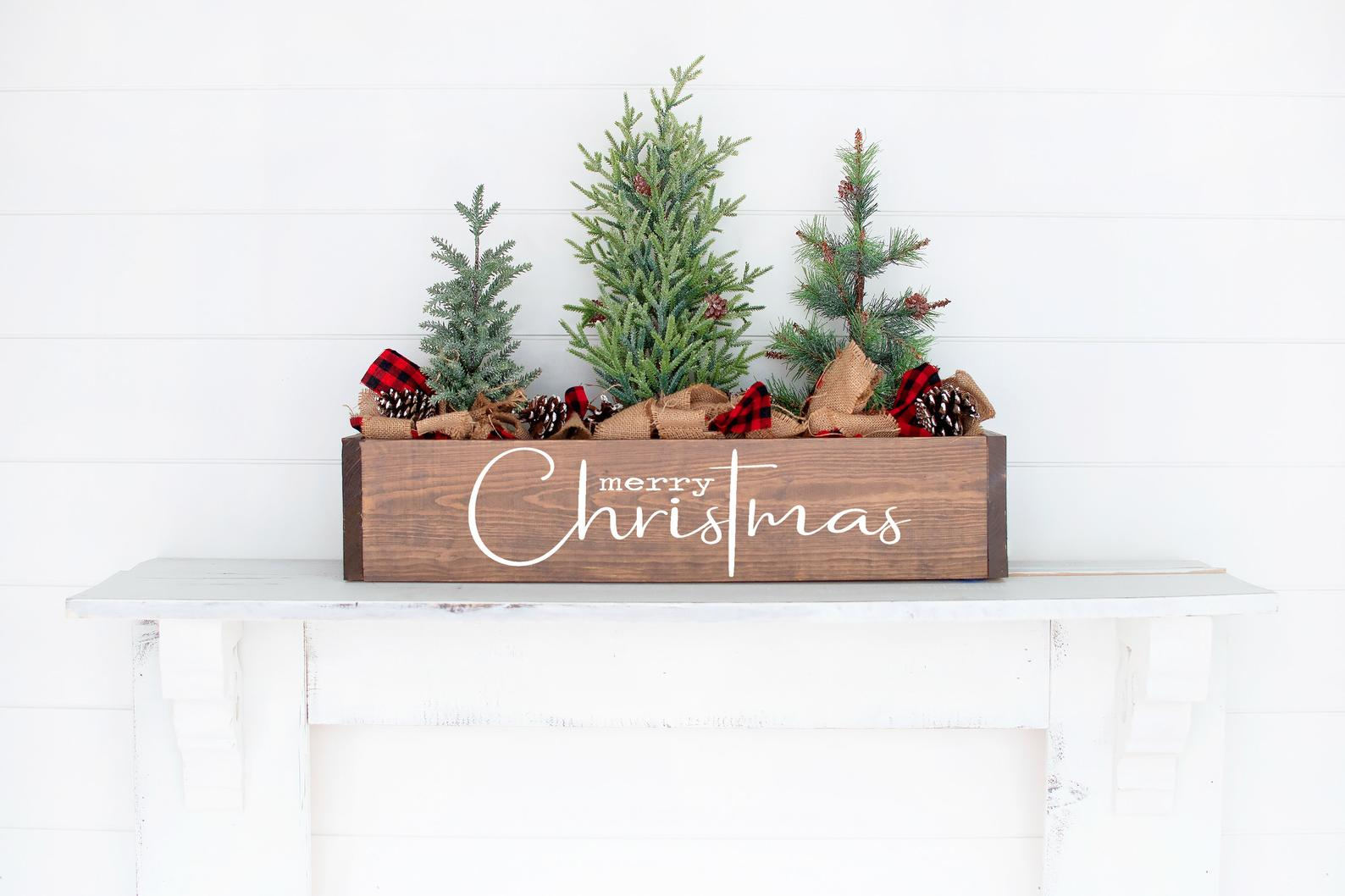 Merry Christmas Planter Box