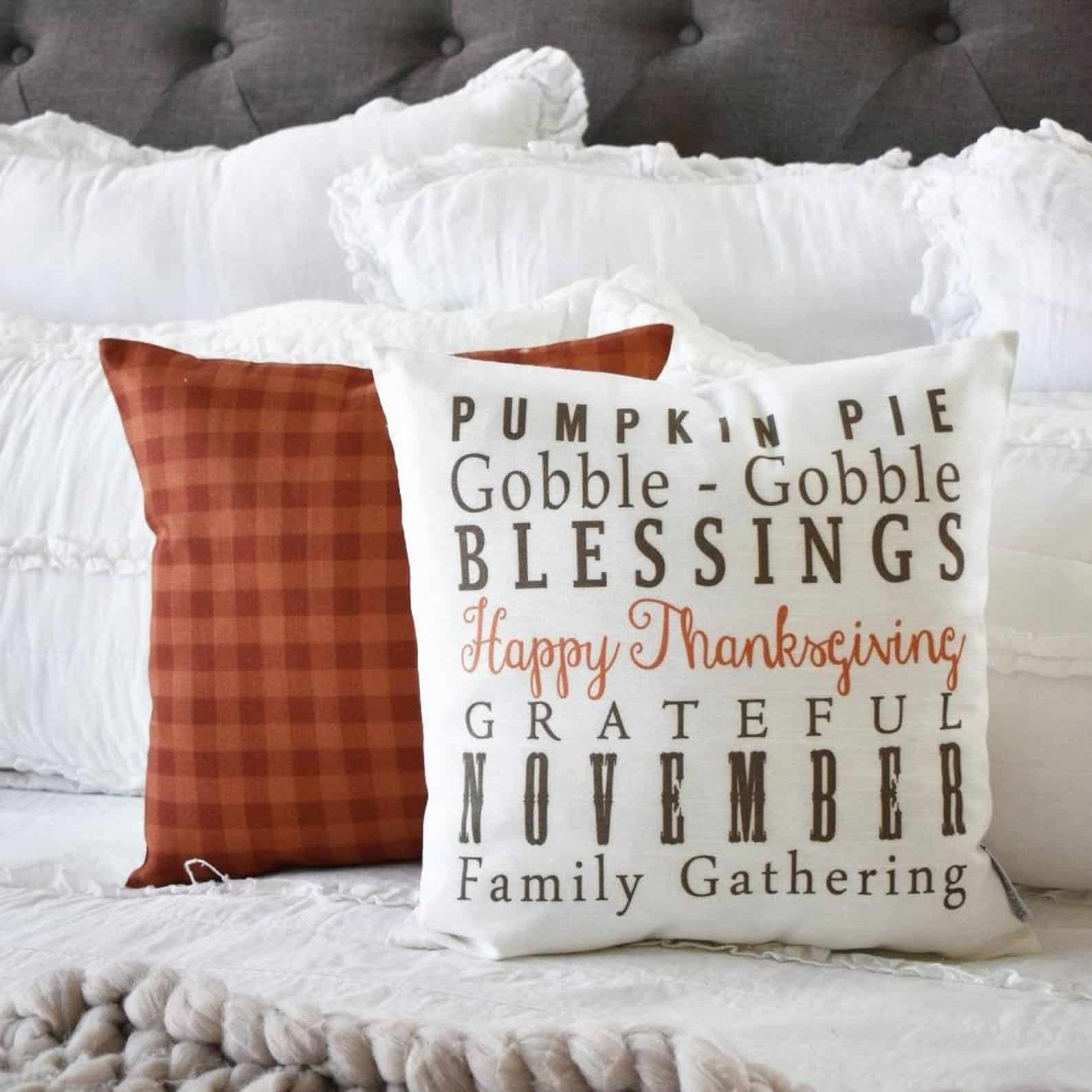 Pumpkin Pie Gobble Gobble White Pillow