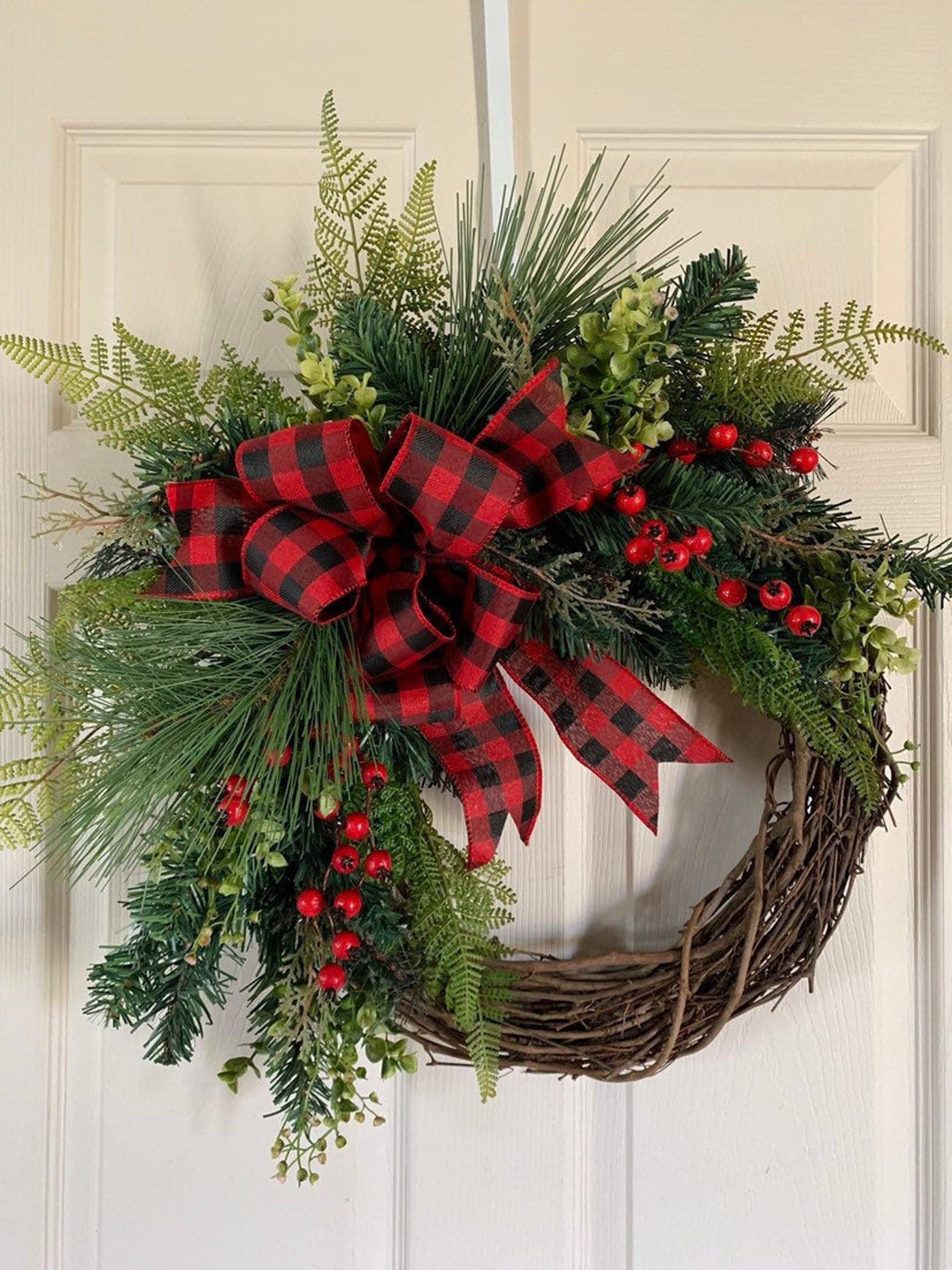 Red Buffalo Check with Red Berries Etsy Christmas Wreaths