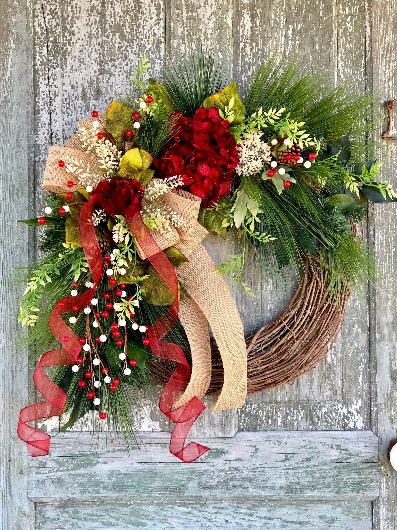 Red Hydrangea and Burlap Bow Etsy Christmas Wreaths