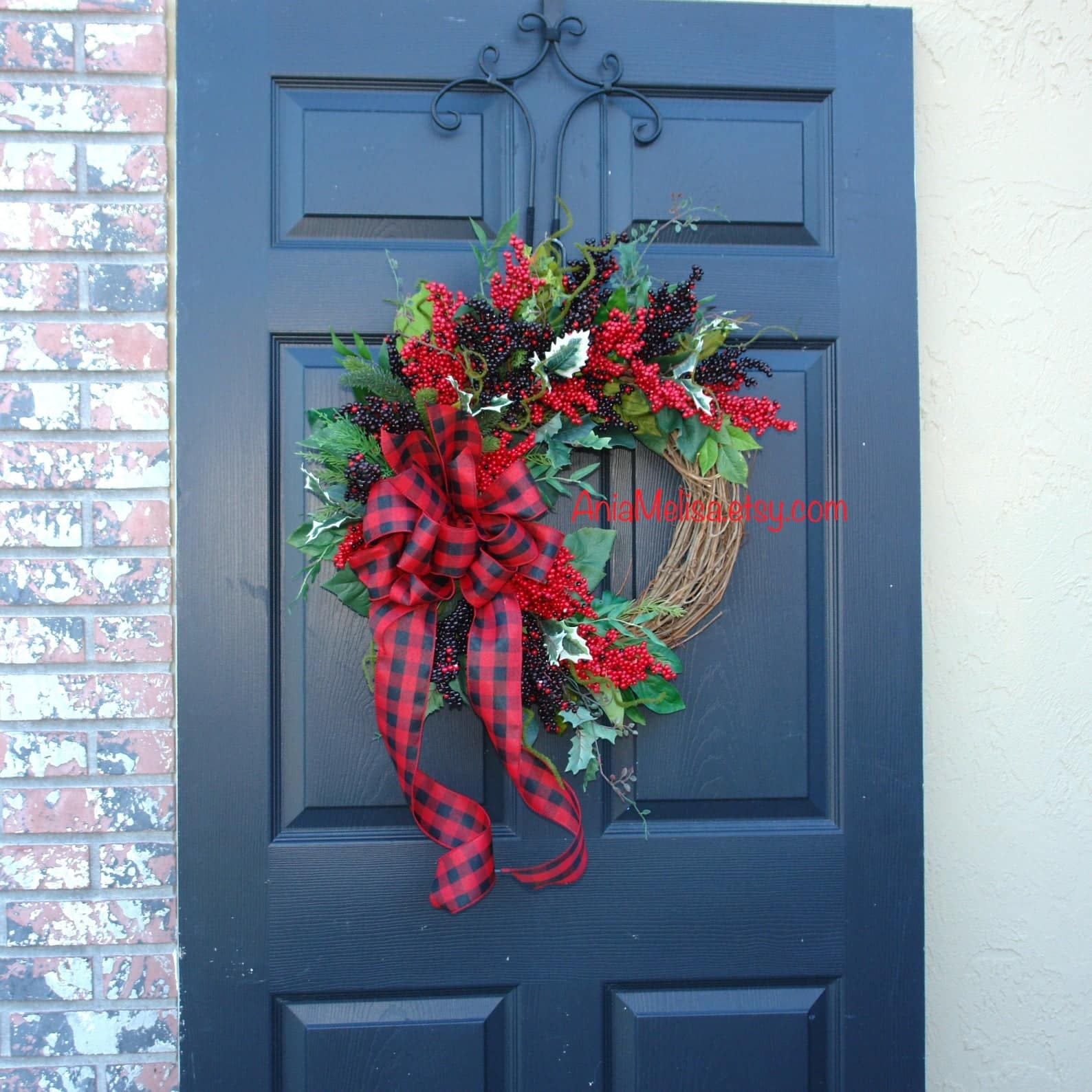 Rustic Buffalo Check Bow Red Berry Etsy Christmas Wreaths