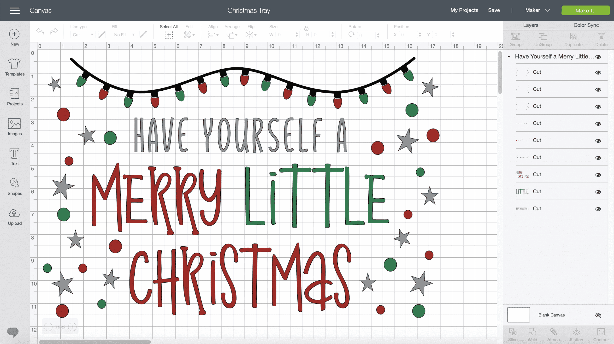 Merry Little Christmas Tray Cricut Design Space screenshot