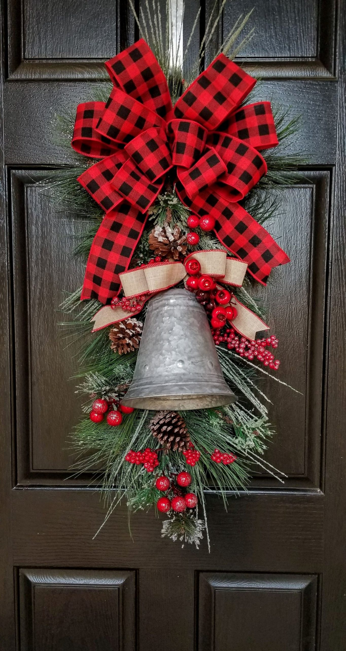 Tin Metal Bell Greens and Berry Etsy Door Swag