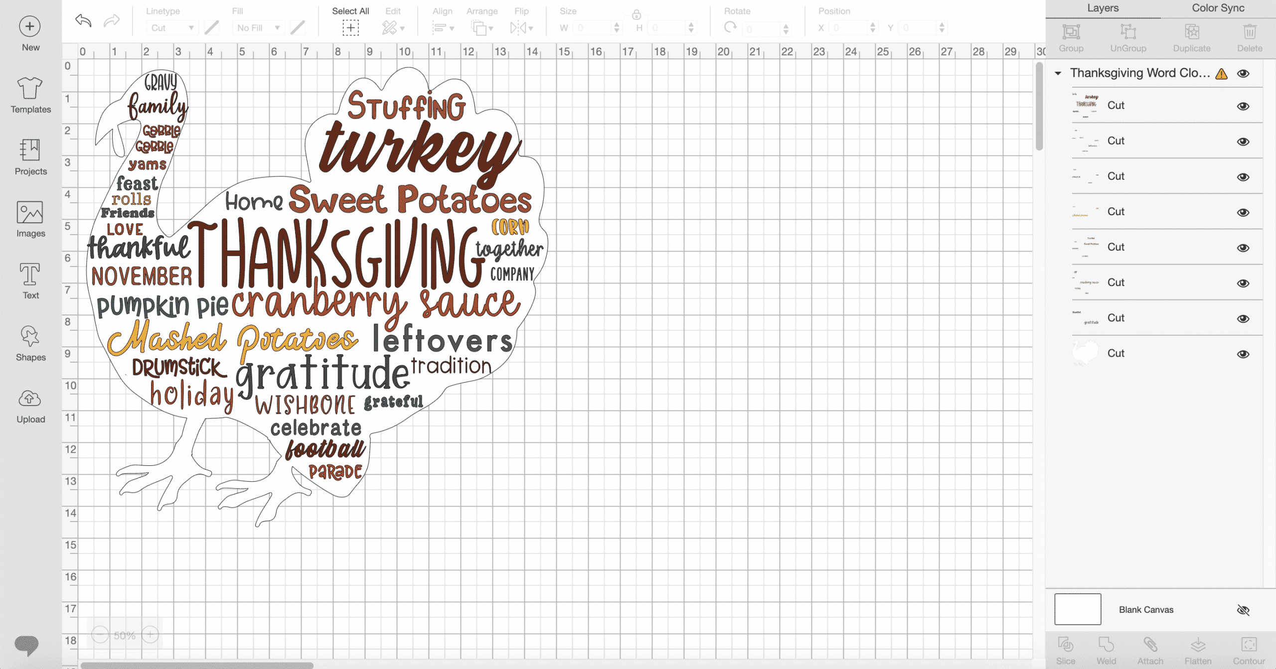 Turkey Word Cloud Pillow_Cricut Design Space
