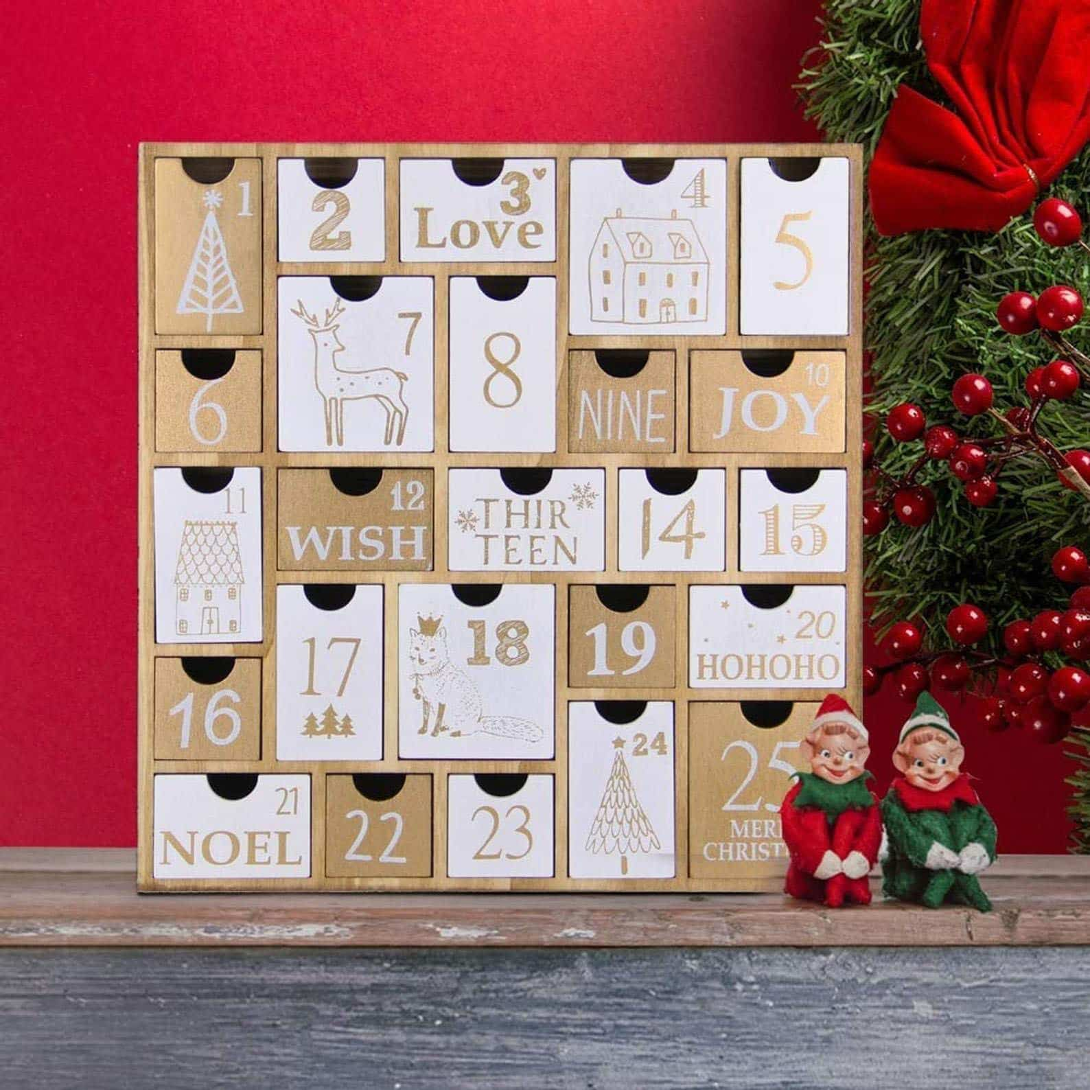 Wooden Multi-Sized Drawers Advent Calendar