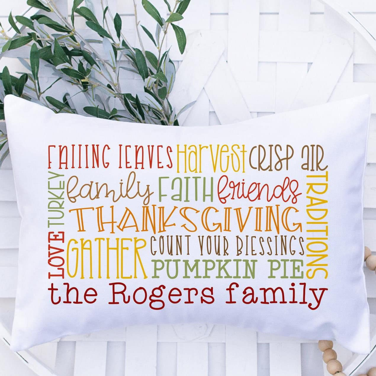 Word Cloud Pillow with family name