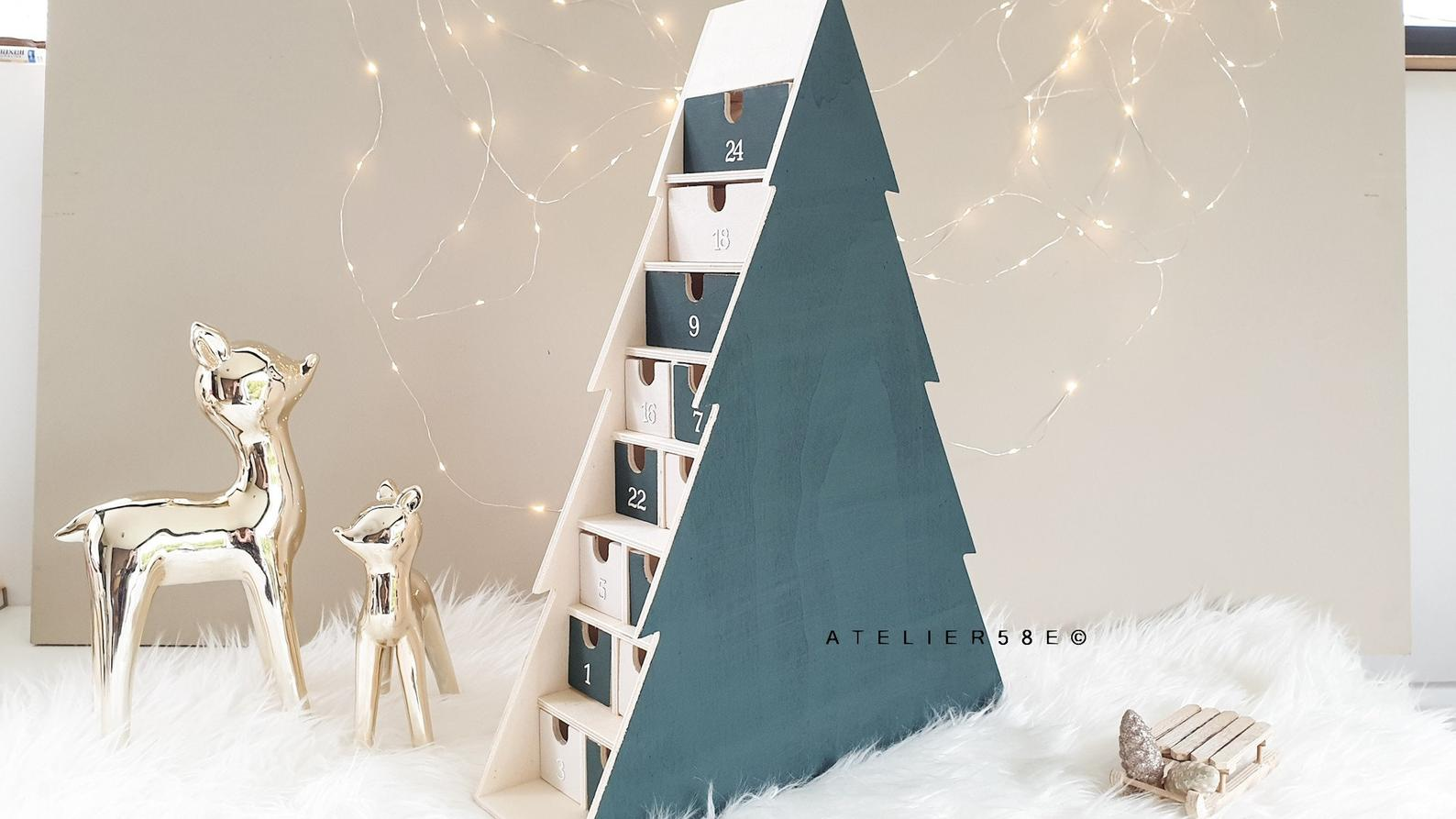 Wooden Christmas Tree Multi-Colored Advent Calendar