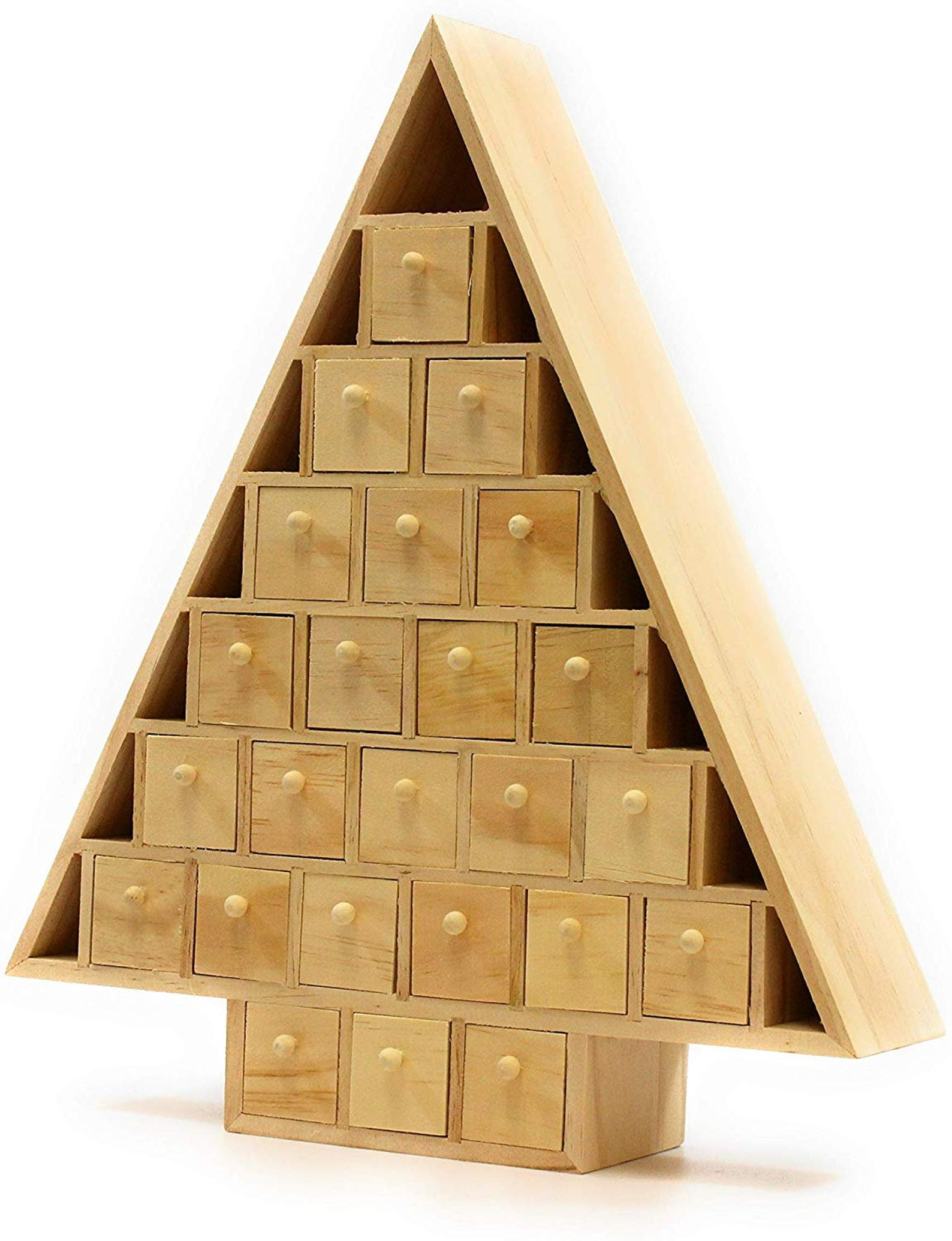 Wooden Christmas Tree Drawers Advent Calendar