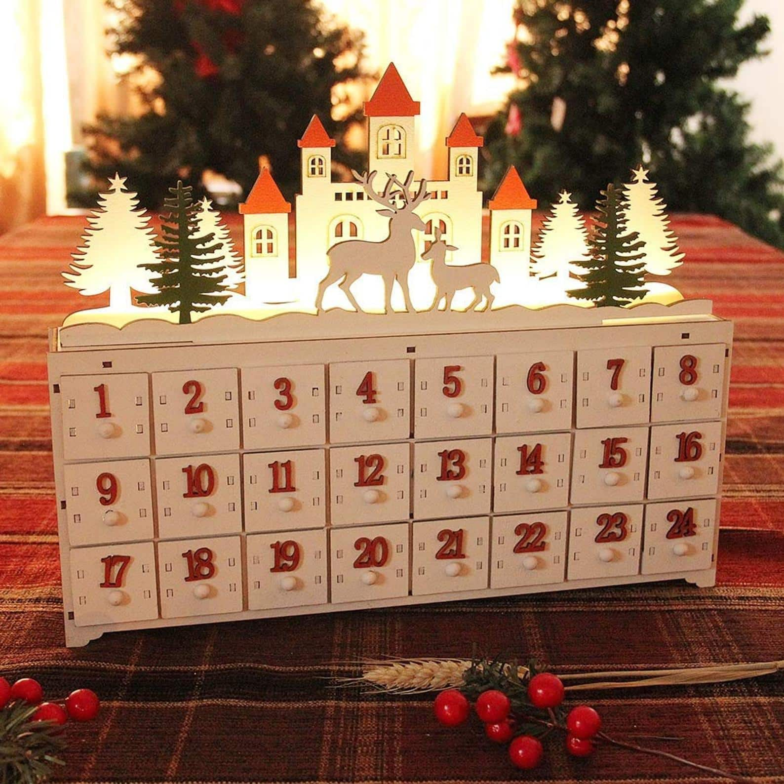 Wooden Doored Advent Calendar with Multiple Decor Options