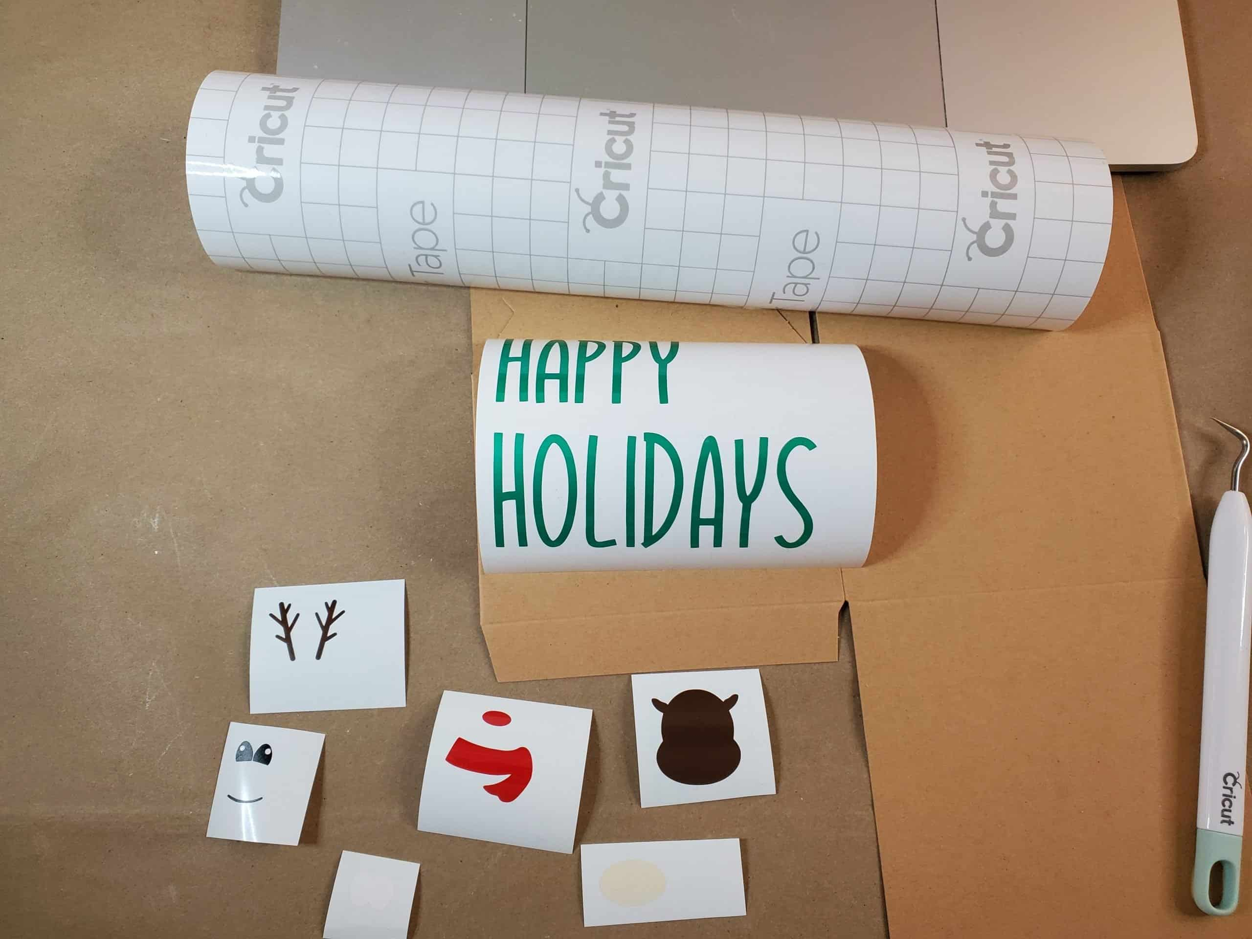 Cut and Weeded Vinyl for Happy Holidays Reindeer Box
