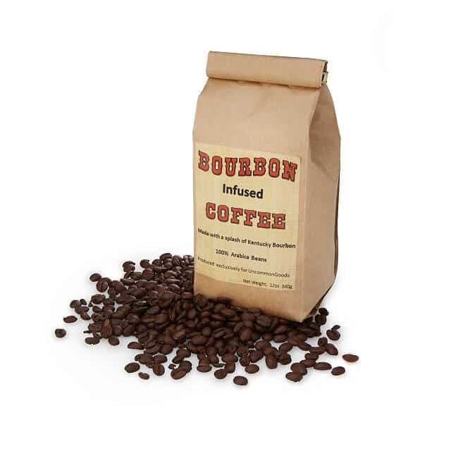Bourbon Infused Coffee Beans in a paper bag - twelve ounces