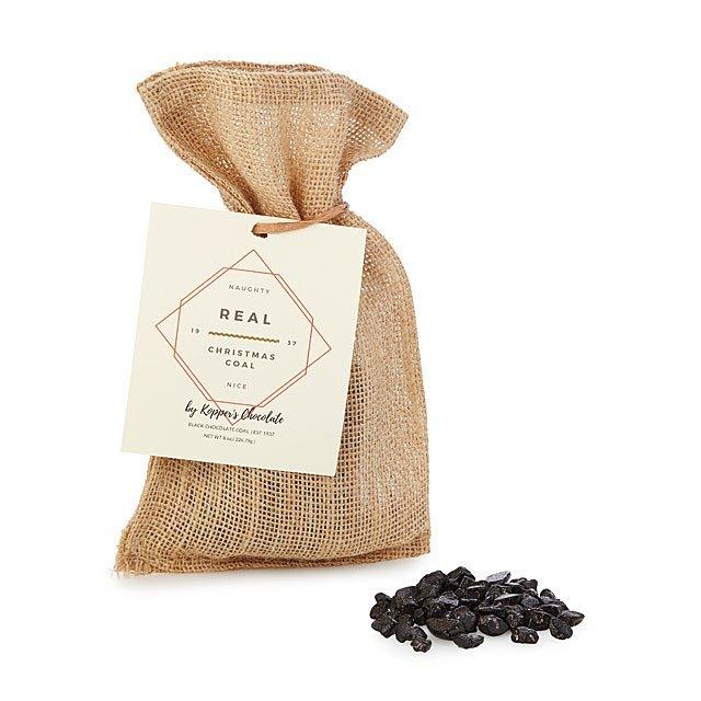 Chocolate Christmas Coal in a burlap sack