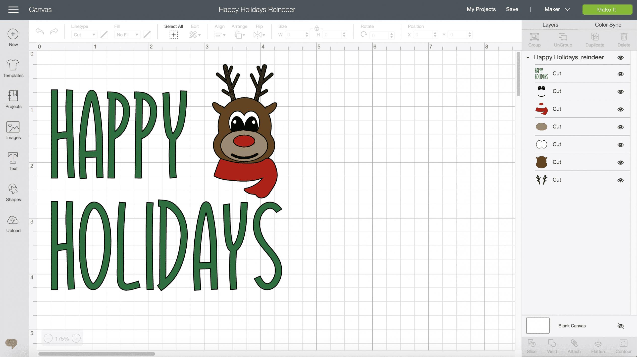 Happy Holidays Reindeer SVG File