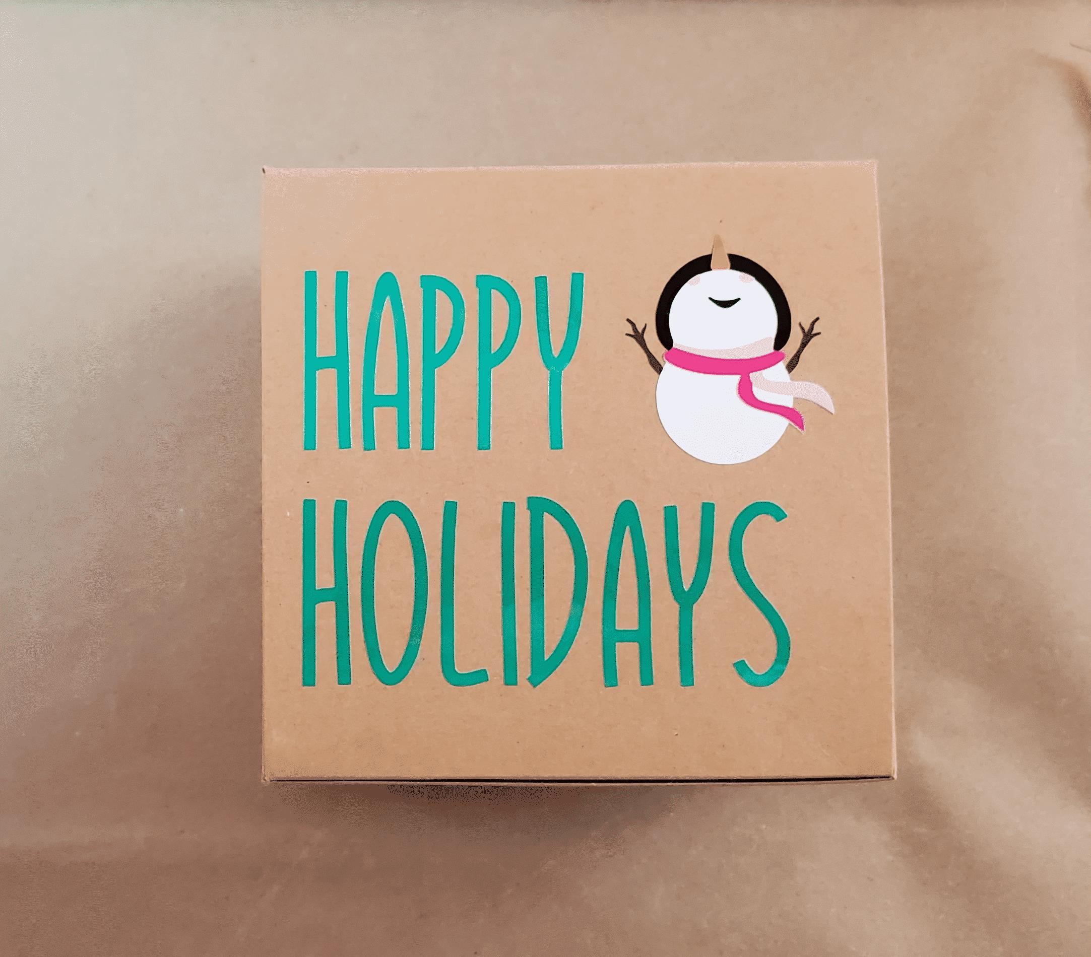 Folded Happy Holidays Snowman Box