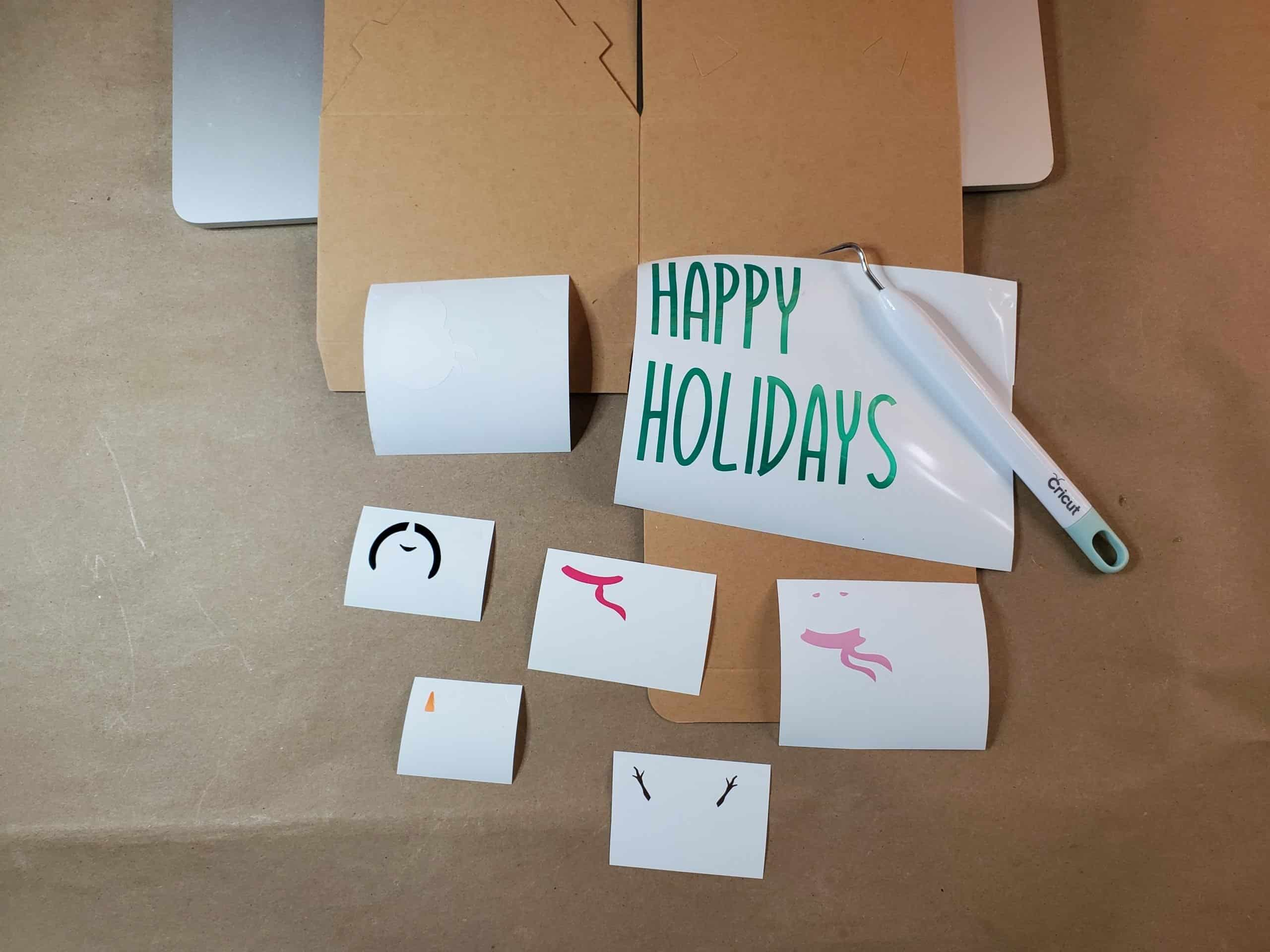Cut and Weeded Vinyl for Happy Holidays Snowman