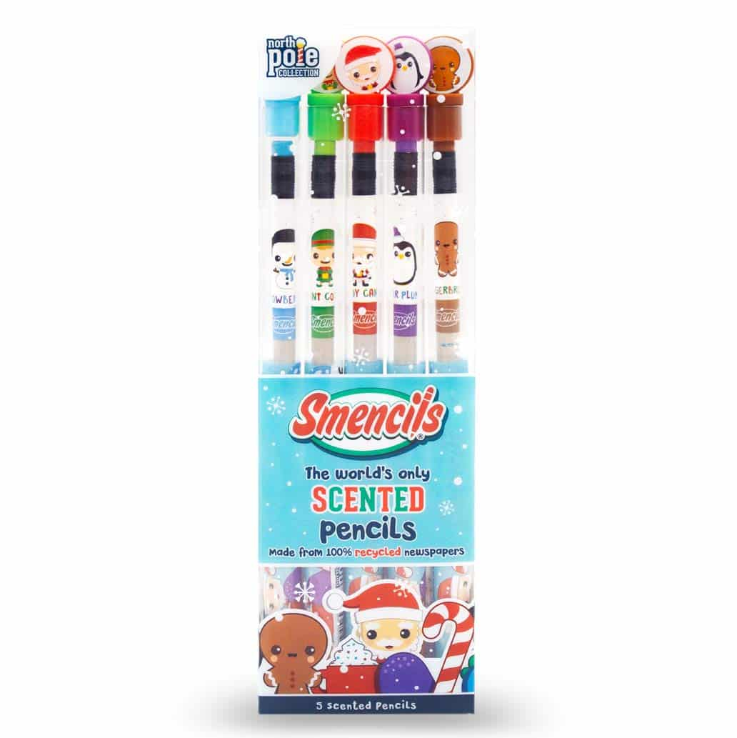 Scented Pencils with Christmas figures on each of the five pencils