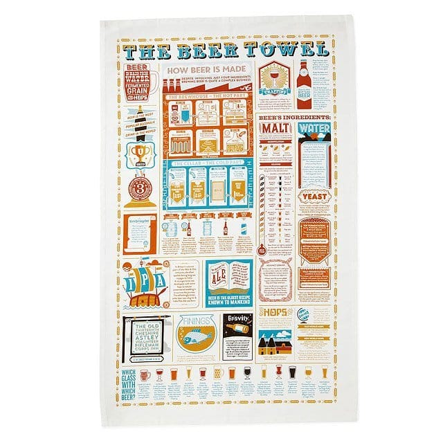 The Beer Lover's Tea Towel with recipes trivia information