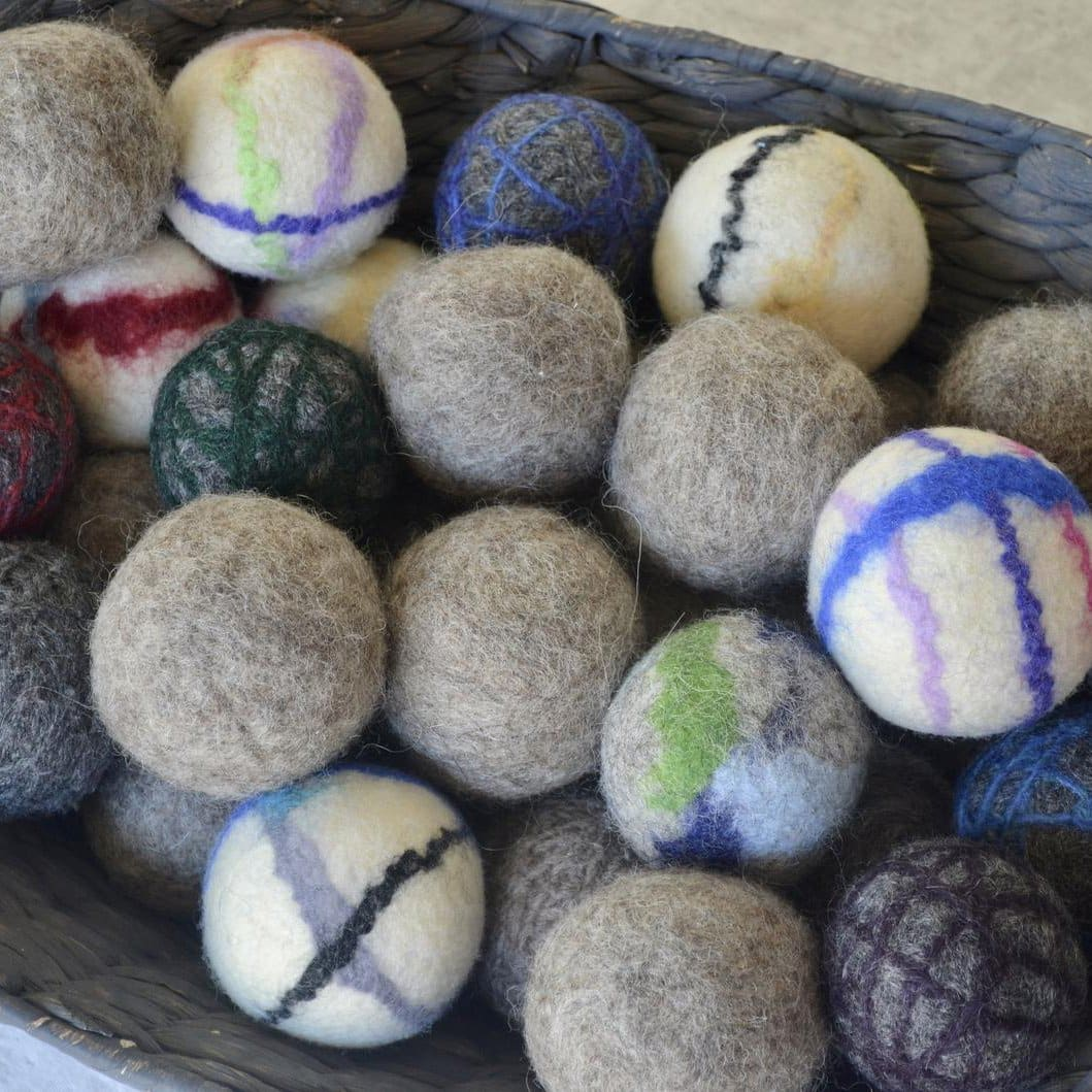 multi-colored wool dryer balls