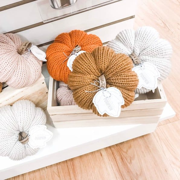 Beautiful Fall Decor Finds - Knit Pumpkins