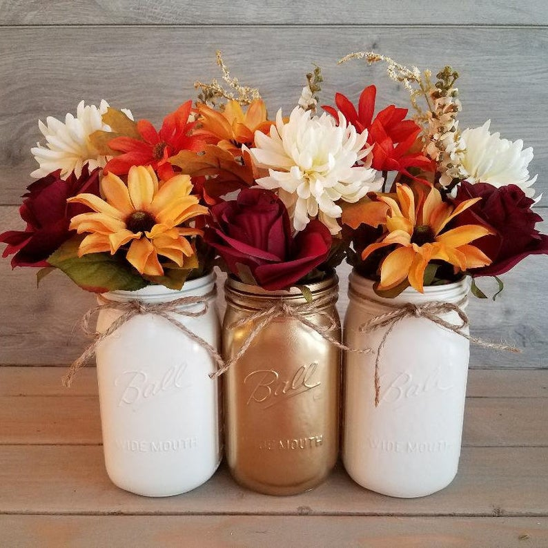 Beautiful Fall Decor Finds - Mason Jar Fall Centerpiece