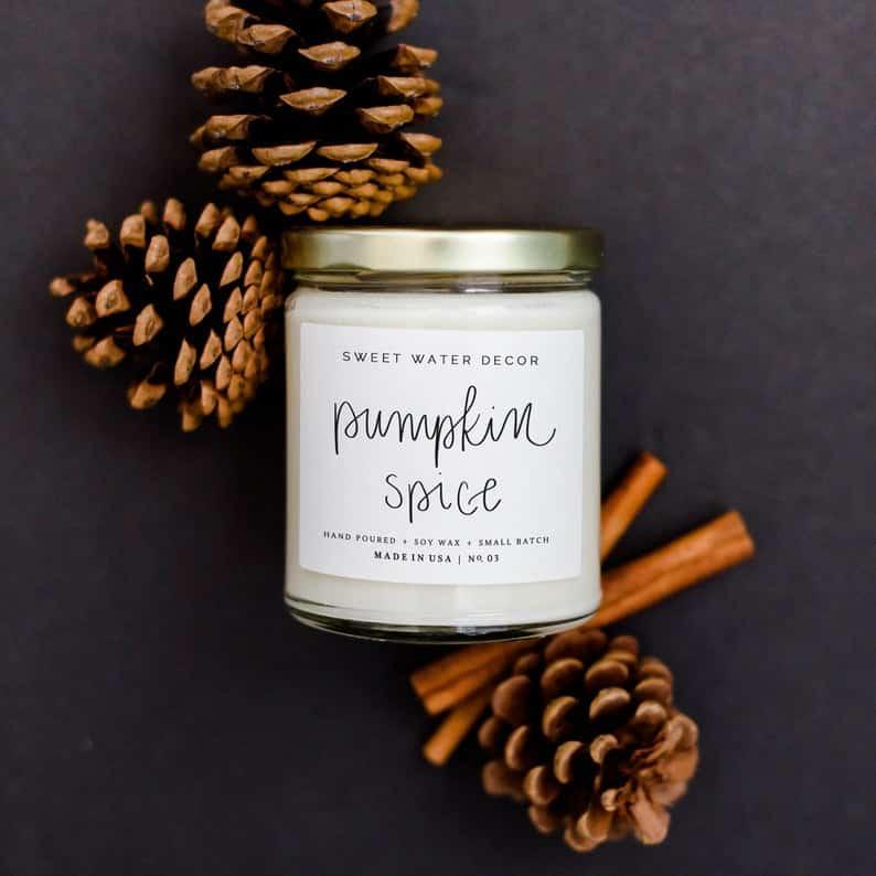 Beautiful Fall Decor Finds - Pumpkin Spice Fall Candle
