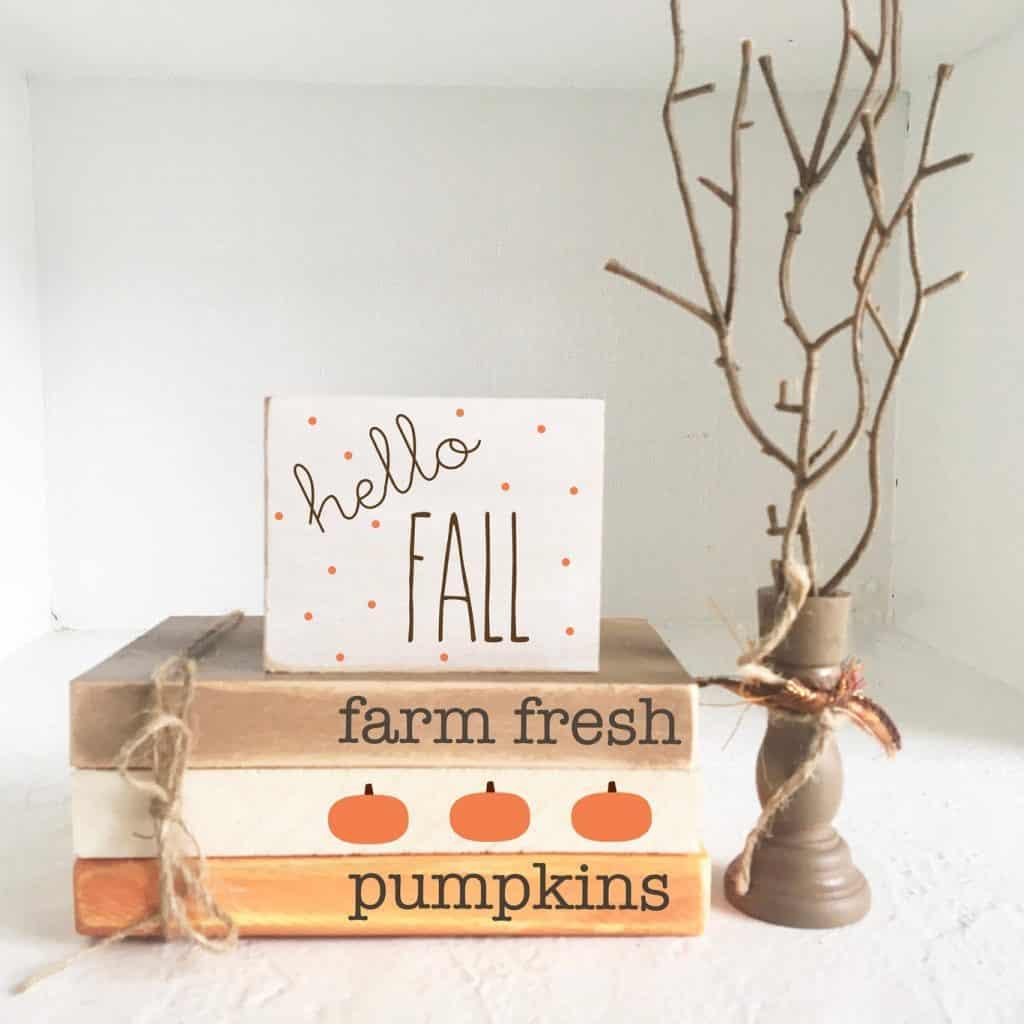 Beautiful Fall Decor Finds - Wooden Fall Books