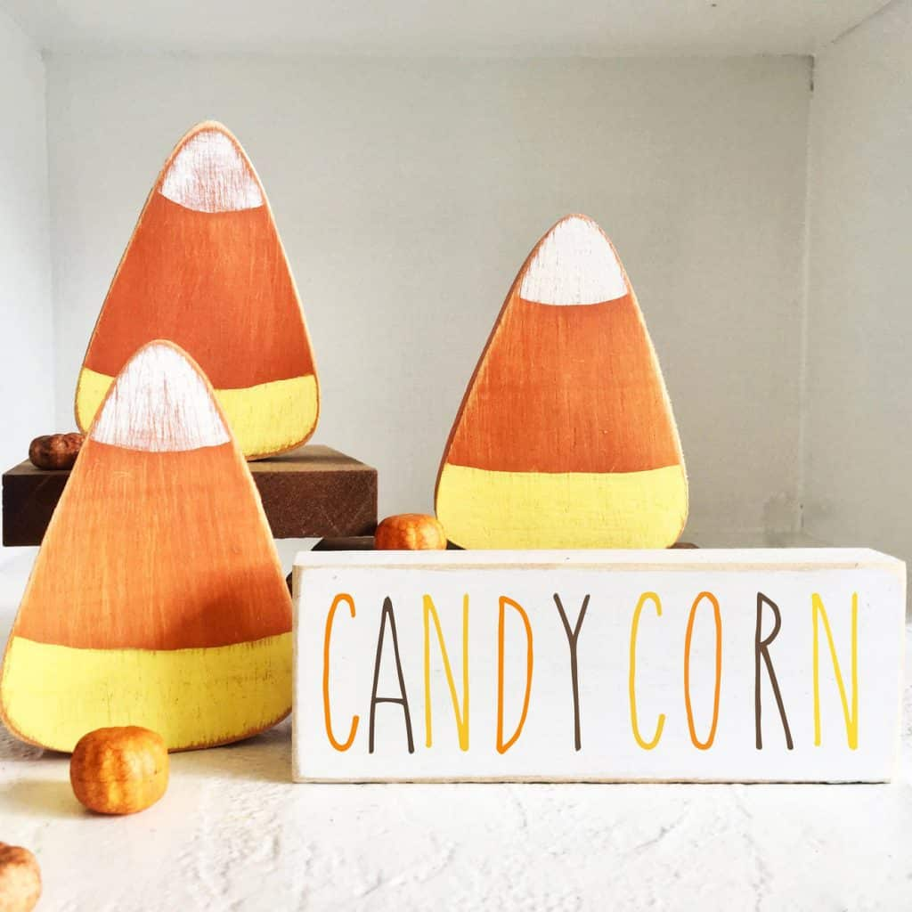 Beautiful Fall Decor Finds - Wooden Halloween Candy Corn Decor