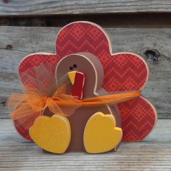 Beautiful Fall Decor Finds - Wooden Turkey Decor